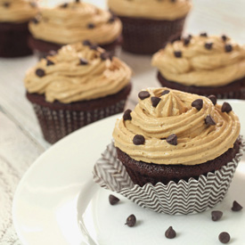 "Paleo Chocolate Cupcake with ""Peanut Butter"" Frosting"