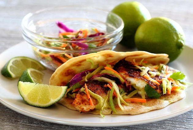 Paleo Spicy Tilapia Baja Tacos with Lime Slaw and Avocado Cilantro Sauce