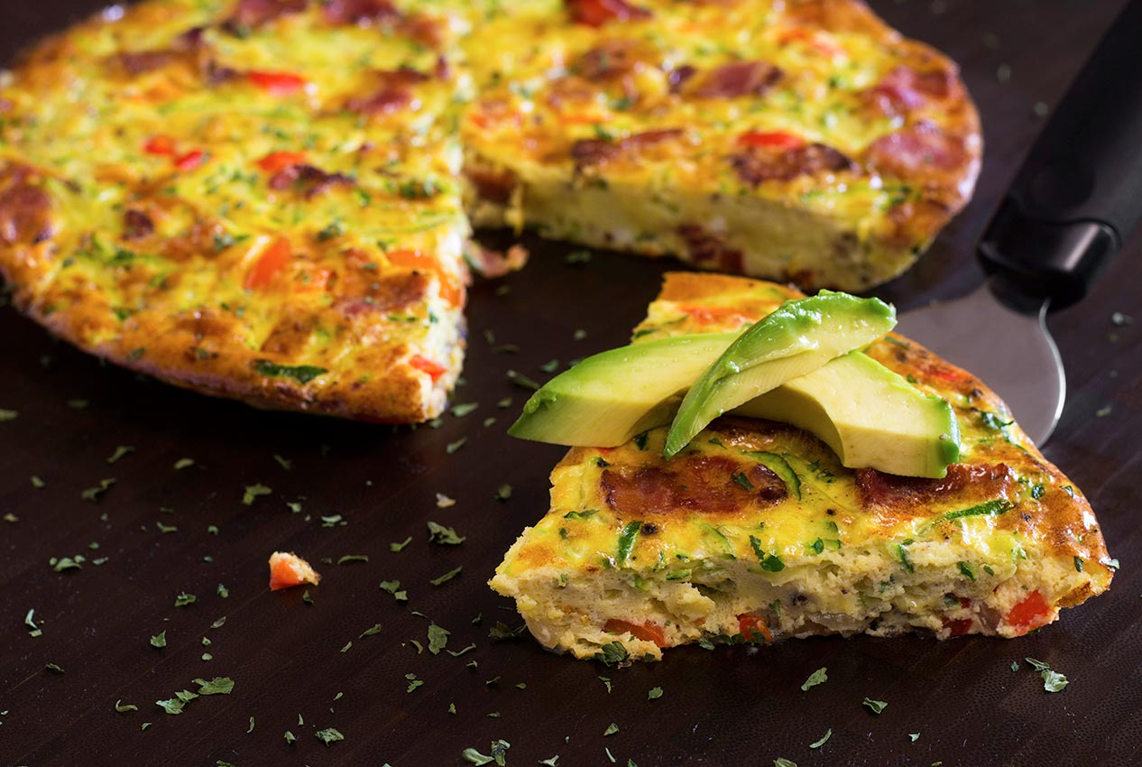 Paleo Bacon Zucchini & Red Pepper Frittata | Paleo Newbie
