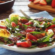 easy paleo recipe for spinach salad with hot bacon dressing