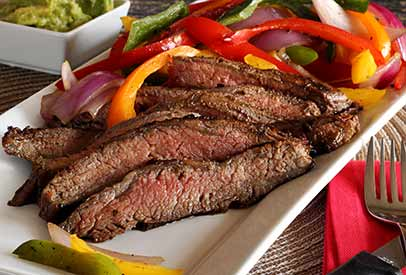 Balsamic Marinated Flank Steak with Grilled Peppers