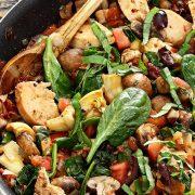 easy paleo recipe for one skillet Mediterranean chicken