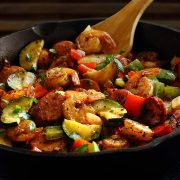 easy paleo recipe for shrimp and sausage 30-minute skillet meal