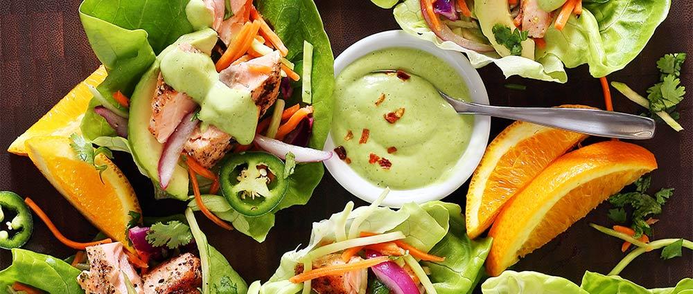 salmon taco wraps with avocado sauce easy paleo recipe